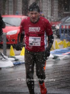 Finishing in the snowy conditions